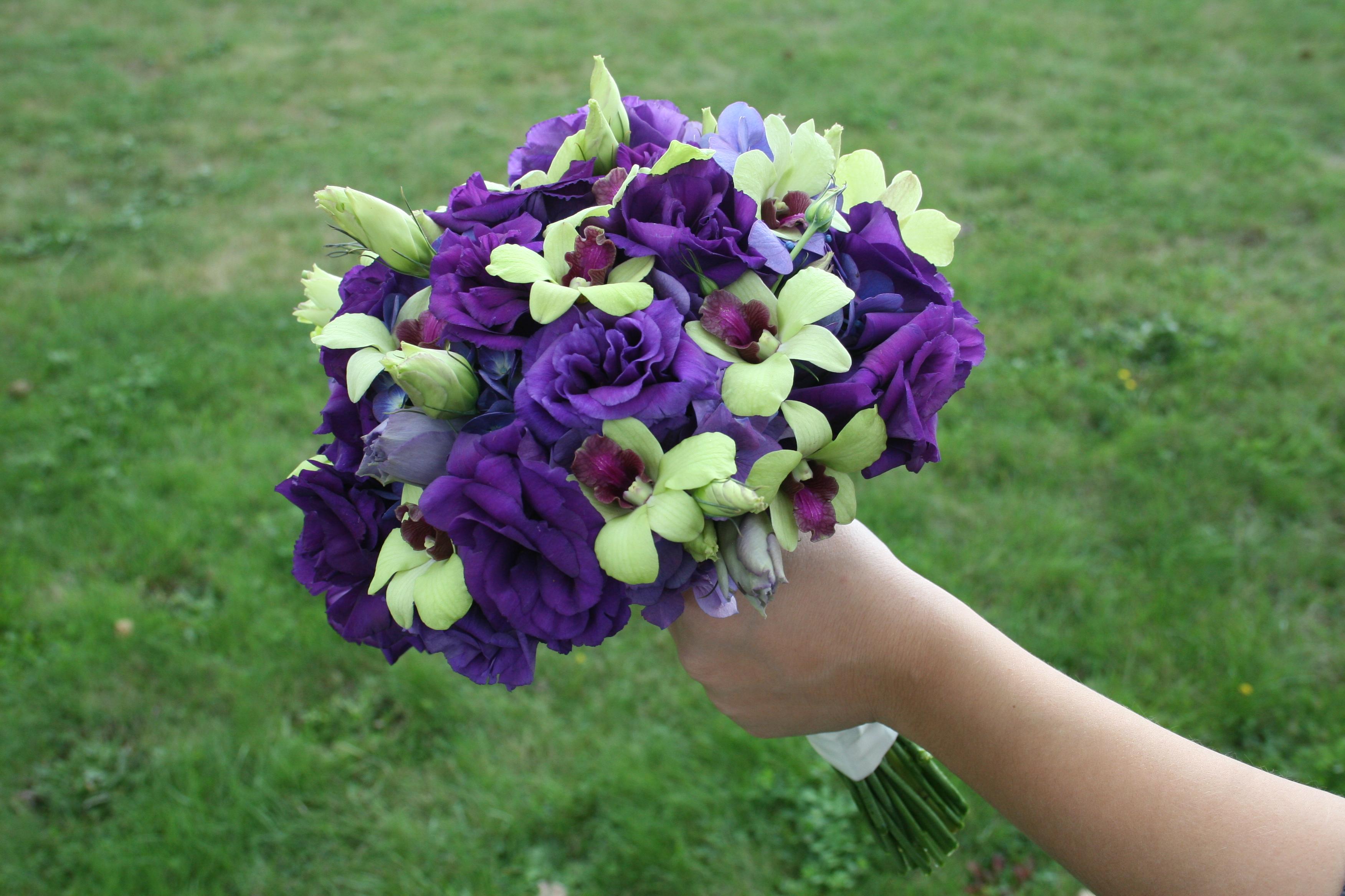 Purple and green hydrangea bouquets